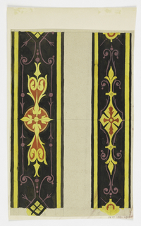 Two horizontal bands; both bordered by gold frame, purple curved lines around red and gold floral medallion motifs on black ground. Left band is wider.