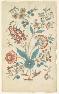 Grouping of flowers in blue and red.
