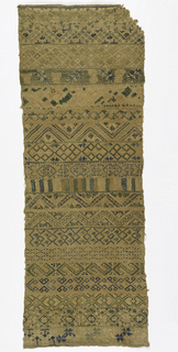 Vertical rectangle embroidered with seventeen horizontal bands of geometric or stylized floral design, in blue, green, pink and cream, now faded.