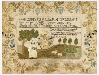 Embroidered sampler with two alphabets, a set of numerals, a verse and a landscape within a deep vine border of flowers and grapes. The landscape includes a woman standing by a tree, sheep, and a large basket of flowers.  The verse reads:  Jesus permit thy name to stand As the first efforts of an infants hand And while her fingers o'er this canvass move Engage her tender heart to seek thy love