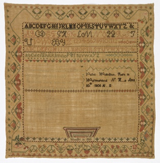 The field is divided in three sections: bands of alphabets and numerals at the top, a verse and inscription in the middle, and an incomplete basket of flowers at the bottom. With stylized floral and strawberry vine borders on four sides.