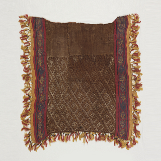 Rectangular piece made up of central section with border sewn on either side. Fringe on three sides. In the borders, warps form stripes in one part and bird designs in another. In the central section, warps form stripes in one part and design of interlocking birds' heads in another. Colors are brown, tan, and shades of red and yellow.