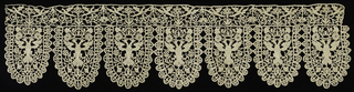 Border with seven deep rounded points of cream colored bobbin lace. Points frame a double-heading eagle surmounted by a domed crown, and set among flower sprays. Points edged with small scallops with a stylized flower in the center. A horizontal border with a symmetrical arrangement of stylized floral sprays and paired birds is above.