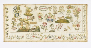 Oblong sampler of cream linen embroidered in colored silks in various detached motifs: angel, flowers, a shepherd with lamb, house, birds and other animals, and a floral border. On the left side is Mexico's coat of arms – a golden eagle devouring a rattlesnake while perched on a prickly pear cactus.
