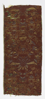 Fragment with vertically symmetrical pattern of rows of a double-headed bird with outspread wings and holding arrows in its talons. Floral vines make an ogee pattern.