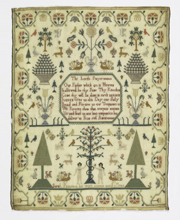 "Within a curving floral border isolated plant and animal motifs with Lord's Prayer in the center and Adam and Eve at the bottom.  Signed ""Sarah Patterson her work August aged 11 year 1784."""