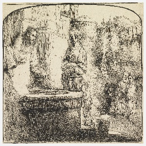 The arched print depicts Christ and a woman standing beside a well at left.  Group of figures at lower right and in background.  Foliage and houses in distance.