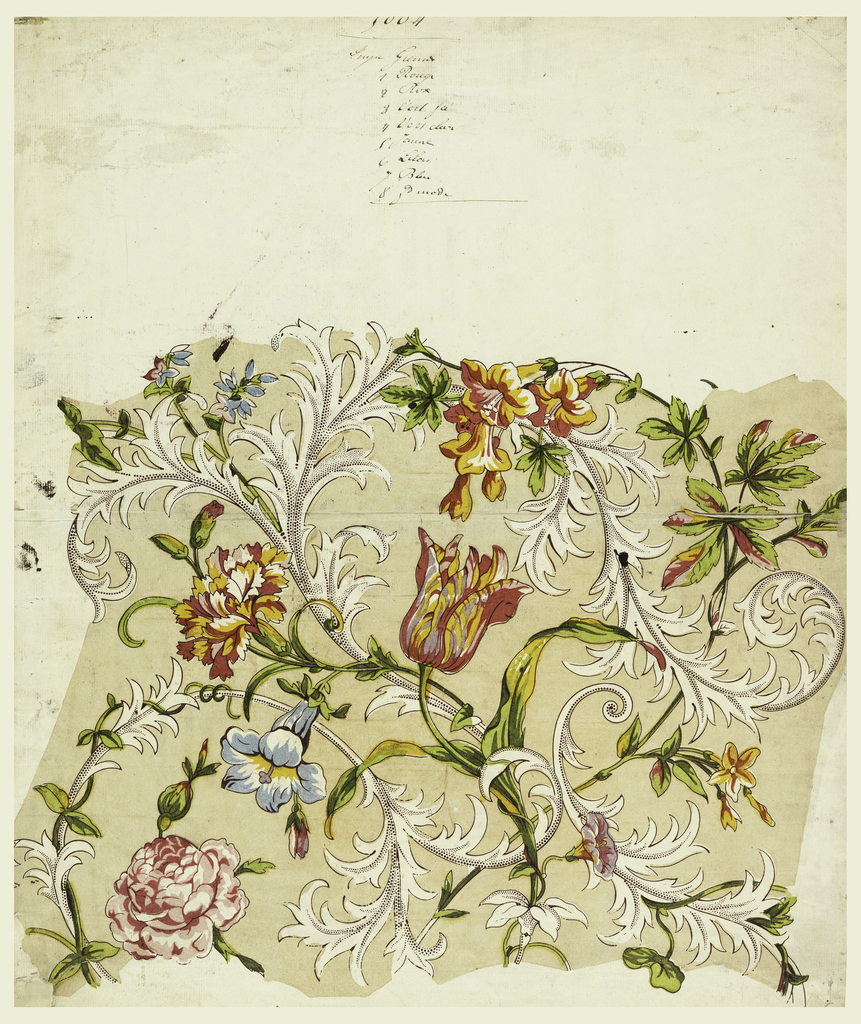 Intertwined meanders of tulips, morning glories, carnations and roses among stylized acanthus leaves with picotage effect. Printed in red, yellow, green, blue, lavender, and dark brown.
