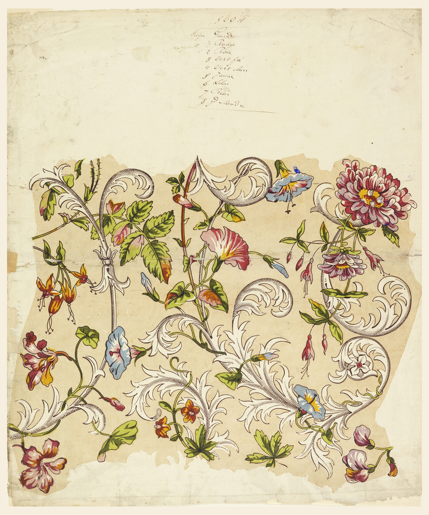 Intertwined meanders of tulips, morning glories, carnations and roses among stylized acanthus leaves with picotage effect.