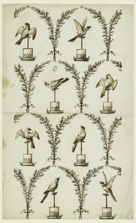 Eight birds on perches enclosed by arced branches, in four horizontal rows, and staggered in alternate