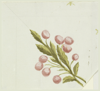 Two boughs with leaves and cherries, obliquely shown directed toward left.