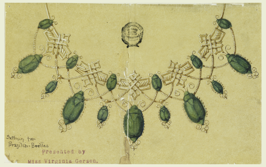 The front part of the chain consists of six small beetles and five ornaments of entwined ribbons in shape of cross. Rope festoons connect small beetles and the ornaments. At the former, hang large beetles, at the latter, small ones.