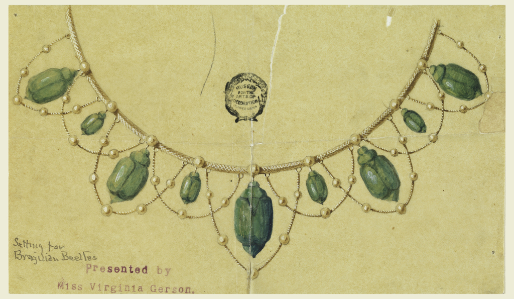 Nine beads are part of chain, from which hang alternately five large and four small beetles. Chains with beads hang as festoons.