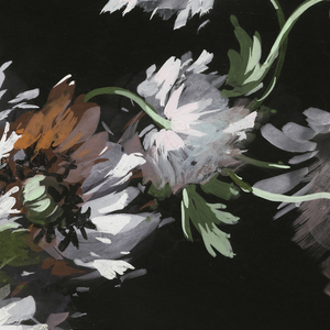 Garland of flowers in white, orange, and mauve on black ground.