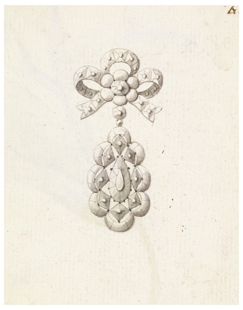 Jewelry design for a brooch. Above, a knot with a blossom in the center; a hanging drop framed outside by arms with lozenges inside. In center, a drop-like gem. Verso: colored drawing of a lily.