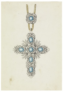 Jewelry design for a pendant in the form of a cross. Hanging from a cord which is fastened by an agraffe (metal clasp); a blue diamond framed by an interlaced band composed of white diamonds. The pendant is a cross composed of five blue diamonds each, framed by two entwined oval bands. In the corners are rays.
