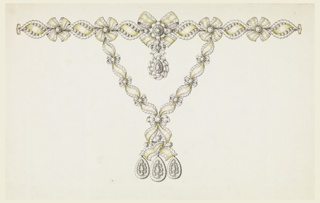 Jewelry design for a necklace. The chain around the neck consists of printed ovals containing a scroll of ribbon between two rows of disks, à jour, connected by knots. Hanging from the central one is a drop with a small knot above.  The hanging chains are composed of similar ovals and knots, but the character of a ribbon is more emphasized.  They are fastened by a knot, with ends hanging down interlaced, and supporting three drops.