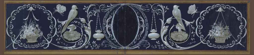 In the center an escutcheon with an empty oval. Beside, a kind of altar lamp suspended at the end of a rinceau, upon which a bird sits; it originates from the inner top of a framed oval, in which stands below a basket with flowers. The ground is blue. The border is red and brown.