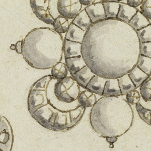 Large brooch: a cross is formed by four round diamonds, the central one being bigger and framed by a circle of diamonds, from it spring drapery festoons formed by diamonds. Smaller brooches are shaped like handles; left one with two leaves and a blossom, right one with a blossom, a leaf and a knot.