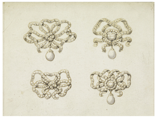 Two rows; those above and below at right with a hanging pearl, those at right with a round diamond in the center.  The ribbons intended to be covered with diamonds. A framing graphite line.