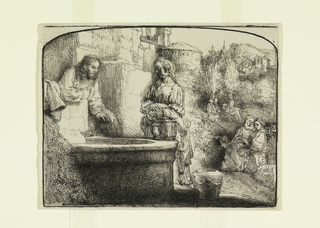 Christ and woman stand beside a well at left. Group of figures at lower right and in background. Foliage and houses in distance. Arched print.