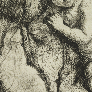 A winged cupid, his quiver of arrows at his left side, reclines on a couch. His bow at left.
