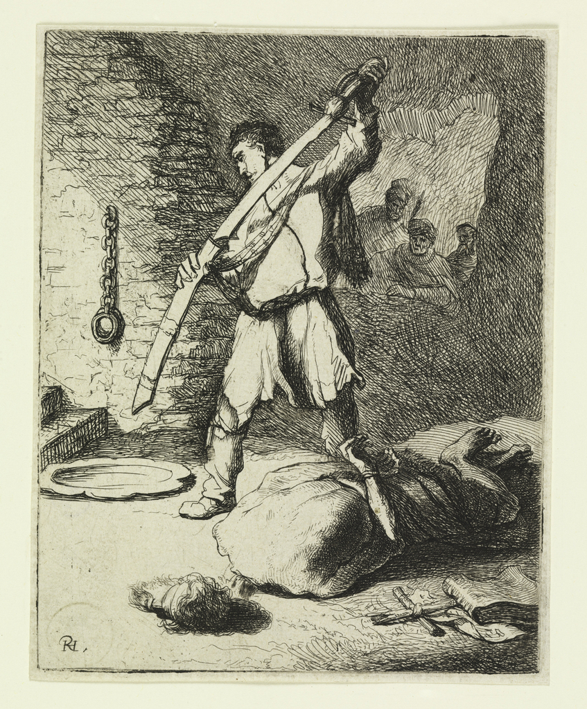 Interior of dungeon. The decapitated and fettered body of St. John lies in foreground. The executioner stands behind him, sheathing his sword.