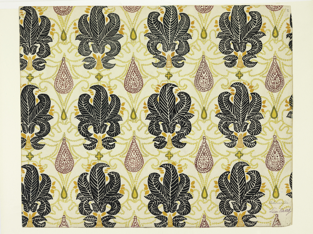 Stylized fern or iris motifs on a ground of chains and lozenges. Central motif, with different color combinations, was employed on a chaise à porteurs, for the ballet Shéhérazade.