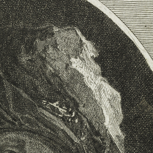 Bust-length portrait of an old man slightly turned to left within an oval. He wears a turban-like headgear.