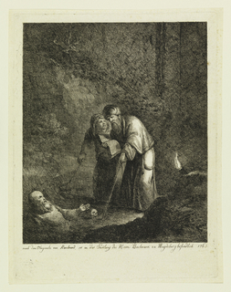In a cave or night setting two figures walking with sticks come upon a third, buried up to his waist. A skull is on the ground beside him. One of the figures is turbaned and reading from a book. A torch in the right foreground.