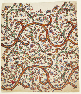 Allover design of vines in green and brown filled with small flowers on a white ground consisting of floral pattern in red, blue, green, and yellow.