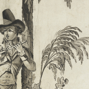 Flutist leans against palm tree before which a man rides by on horseback.