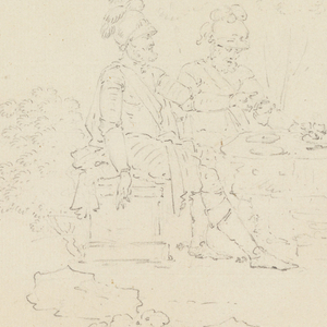 """Scene from Voltaire's epic, """"Henriade"""".  Henry IV seated in a landscape near the Port of Dieppe, with his friend, Duplessis-Mornay, converses with a holy hermit (Canto I, lines 229-232)."""