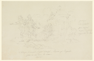 Island scene from Voltaire's epic.  Henri IV taking leave of his mistress, Gavrielle d'Estrées, before the Temple of Love, returns with his friend Duplessis-Mornay, to the army.
