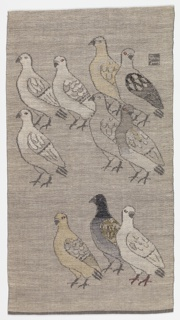 Doves woven in grey and white with the bodies of several doves brocaded in tans.