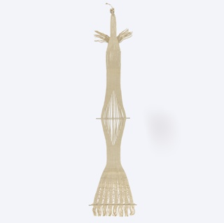 Hanging woven in natural colored linen in a tapering form.