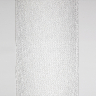 Legth of of semi-transparent, white woven polyester with floating and undulating wefts of black washi paper.