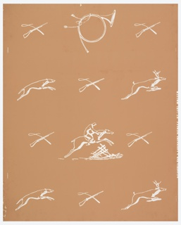 One repeat of design composed of scattered elements of hunting: horn, mounted rider at a jump, crossed whip and gun, dog and stag. Printed in white on brown ground.