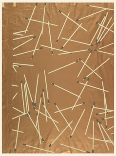 Less than one repeat of design showing match-sticks scattered at random. Printed in cream and gray on metallic copper ground.