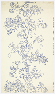 Slightly more than one repeat of an ascending serpentine vine-form set with a large variety of flowers and leaves. Printed in blue-violet on white ground.