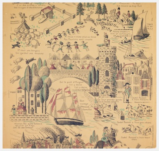 """Depicts scenes from old time French nursery rhymes, also the titles which are printed in French. Used in children's playroom in restoration of Jumel Mansion in New York City. Printed in selvedge: """"'Chansons Enfantines' d'Apres An.."""" Printed in black, red and green on buff-colored field."""