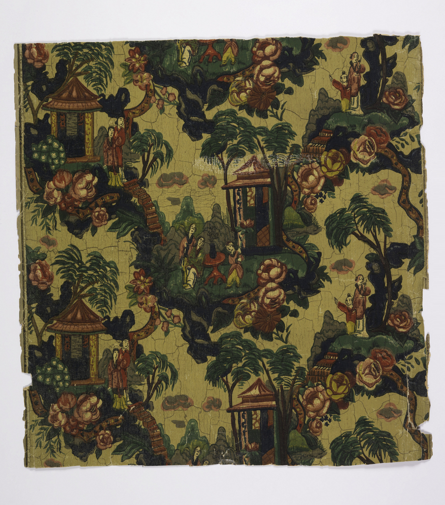 Chinoiserie: Vignettes of Asian figures amid pagodas and large flowers. Printed in colors on yellow ground.