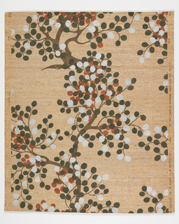 Trees with nearly circular leaves on grasscloth. a) pink ground with gray specks, brown tree with black, rust, red and silver leaves; b) green ground with bluish specks, yellow tree with olive, green and white leaves. Drop match.