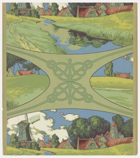 a) Portion of a frieze. Dutch landscape with milkmaid in shades of green, brown, and maroon on pale chartreuse ingrain paper; b) same design but slightly smaller piece; c) Cows with distant windmill. Possible children's pictorial frieze.