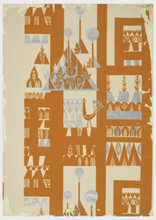 Landscape with stylized plants, trees, potted flowers, a peacock and geometric shapes are all placed vertically. Printed in bright orange and metallic silver on a beige background.