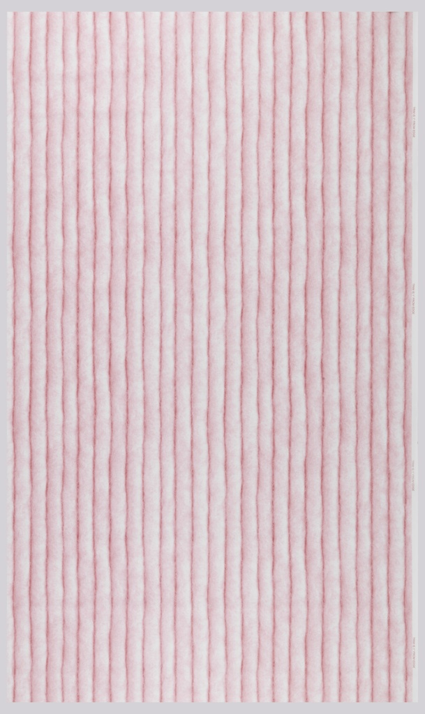 """Photographic reproduction of cord, very much enlarged and closely spaced. The design forms 2 inch wide vertical stripes. The very obvious fibers and shadows create a very 3-dimensional effect. Printed in pink on a white ground, this is the """"Grapeseed"""" colorway."""