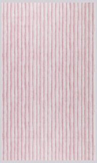 "Photographic reproduction of cord, very much enlarged and closely spaced. The design forms 2 inch wide vertical stripes. The very obvious fibers and shadows create a very 3-dimensional effect. Printed in pink on a white ground, this is the ""Grapeseed"" colorway."