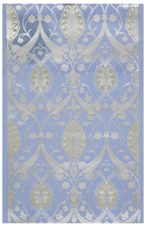 Interlocking foliate framework with enclosed stylized flowers. Printed in metallic silver and taupe on light blue ground. Paper embossed to resemble leather.