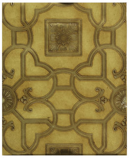 Geometric design with strapwork, square boss containing sunflower, rondel with stylized floral motif. Printed in taupe on tan ground. Paper embossed to resemble leather.