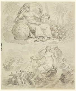 The design for a textile is composed of four vignettes, separated in pairs vertically, in the center of the composition by a strip composed of trophies symbolizing the elements, and at the repeat, by a strip showing the signs of the zodiac: